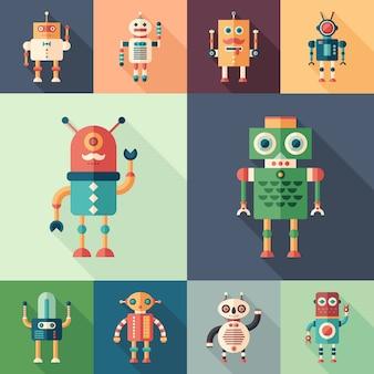 Reeks kleurrijke robots vlakke vierkante pictogrammen met lange schaduwen.