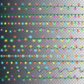 Reeks kleurrijke slingerlichten