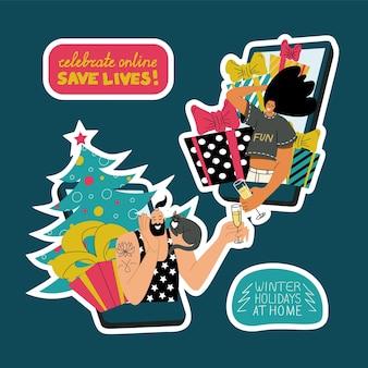 Reeks kleurrijke stickers met handgeschreven citaten en lachende jonge mensen die kerstmis vieren