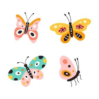Reeks kleurrijke vlinders