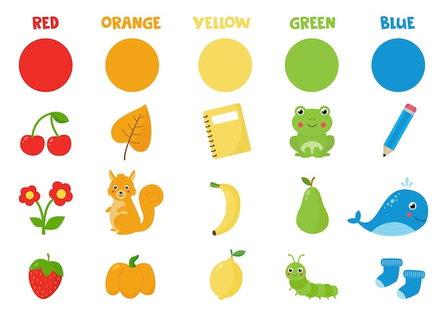 Reeks kleurrijke voorwerpen. basiskleuren leren voor kleuters. flashcard met rode, groene, oranje, blauwe, gele kleuren.