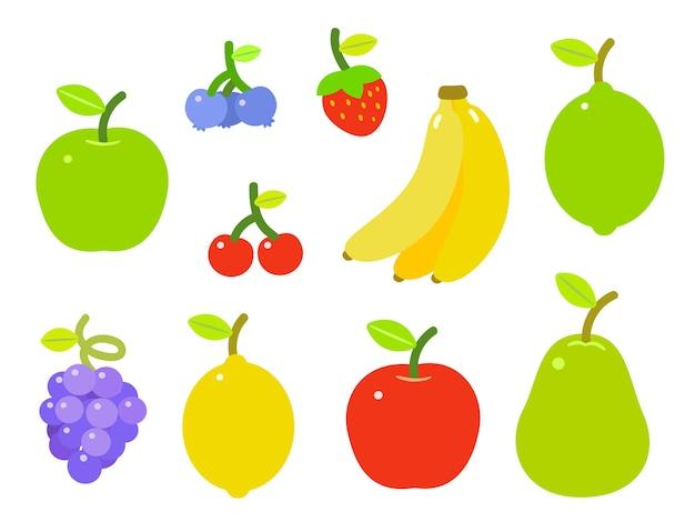Reeks kleurrijke vruchten, die op witte achtergrond wordt geïsoleerd.