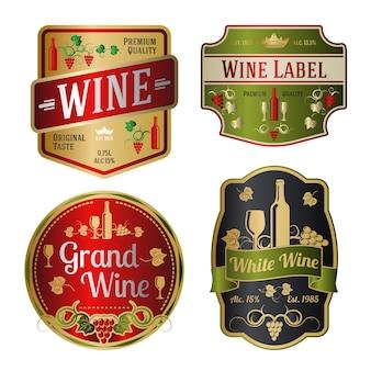 Reeks kleurrijke wijnetiketten van verschillende vormen.