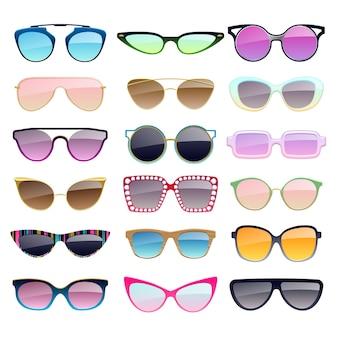 Reeks kleurrijke zonnebrilpictogrammen. accessoires voor modebrillen.