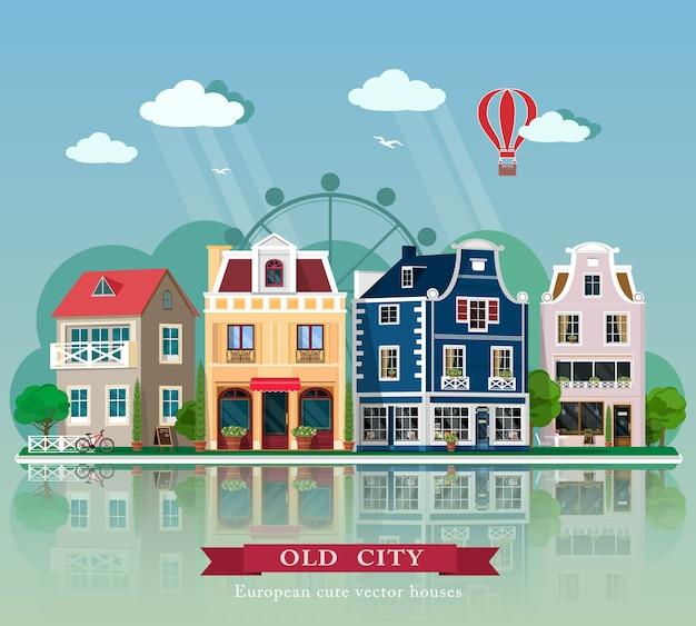 Reeks leuke gedetailleerde oude stadshuizen. europese retro gevels van gebouwen. illustratie.