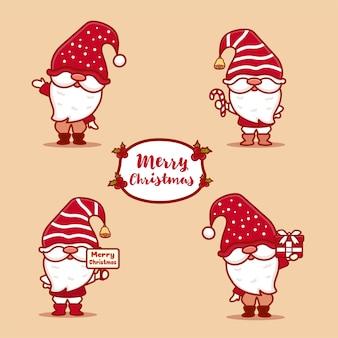 Reeks leuke kabouters die kerstmis vieren. met vrolijke kersttekst, snoep en cadeau. kawaii-stijl