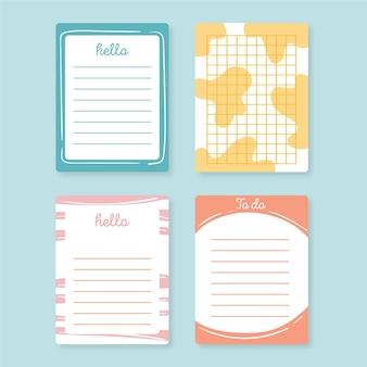 Reeks leuke plakboeknotities en kaarten