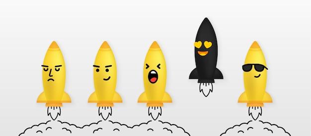 Reeks leuke raketkarakters die naar de ruimte op witte achtergrond lanceren