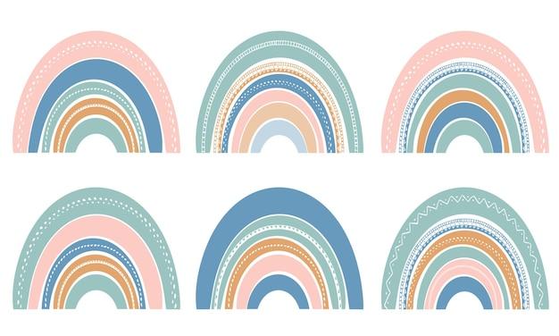 Reeks leuke regenbogen die op wit wordt geïsoleerd