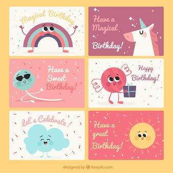 Reeks leuke verjaardagskaarten met mooie karakters
