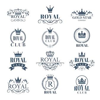 Reeks luxelabels die met kronen wordt geplaatst. koninklijke emblemen en kentekens met plaats voor uw tekst
