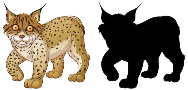 Reeks lynxkarakters en zijn silhouet op wit