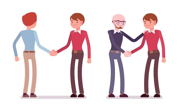 Reeks mannelijke karakters in een vrijetijdskledinghandenschudden