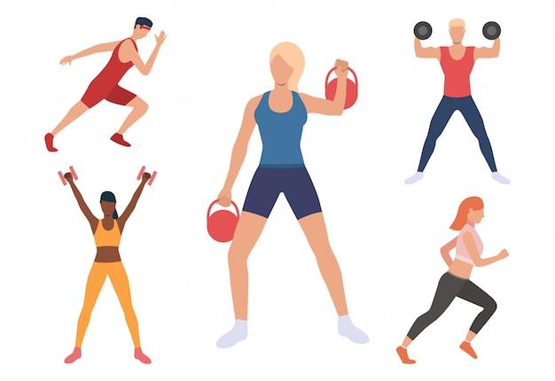 Reeks mannen en vrouwen die in gymnastiek uitoefenen
