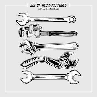 Reeks mechanische hulpmiddelenillustraties