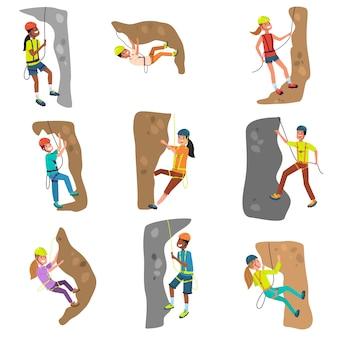 Reeks meisjes en jongensalpinisten die heuvelsillustratie beklimmen