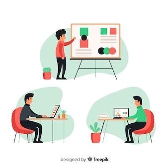 Reeks mensen die bij hun geïllustreerde bureaus werken