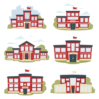 Reeks moderne schoolgebouwen in rode kleur met bomen en stadssilhouet. een stadslandschap met een gevel. vooraanzicht van leergebouw.