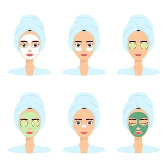 Reeks mooie vrouwen met verschillend gezichtsmasker. spa schoonheidsbehandeling, vectorillustratie