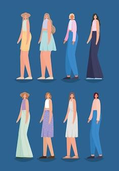 Reeks mooie vrouwen op een blauwe illustratie als achtergrond