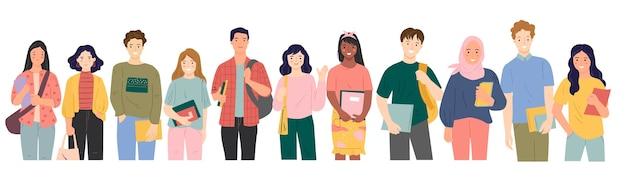Reeks multiculturele studenten die boekenillustratie houden