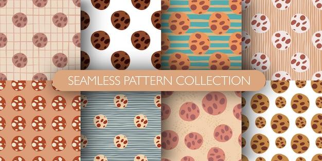 Reeks naadloos geïsoleerd patroon met gekleurde elementen van chocoladekoekjes