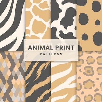 Reeks naadloze dierlijke vectoren van het drukpatroon