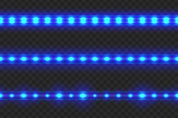 Reeks naadloze geleide gloeiende lichte strepen op transparant