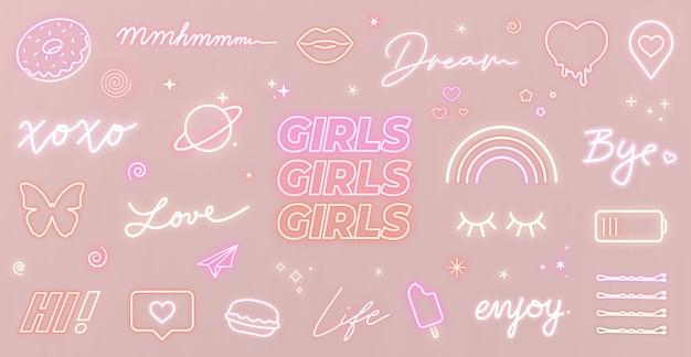 Reeks neon girly tekens en leuke gloeiende pictogrammen op roze achtergrond