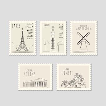 Reeks oriëntatiezegels met verschillende steden in hand getrokken stijl