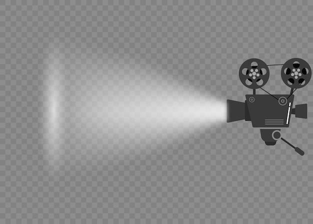 Reeks oude filmbioscoopprojectoren op een statief. handgetekende schets van een oude bioscoopprojectoren