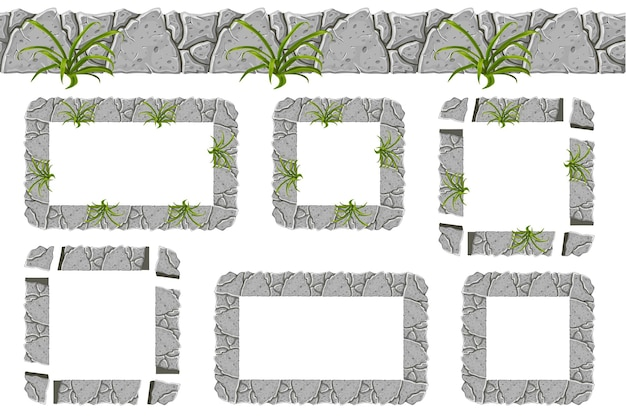 Reeks oude grijze rotsgrens en kaders met gras.