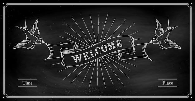 Reeks oude vintage lintbanners met woord welkom en vogels in gravurestijl op een zwart schoolbord