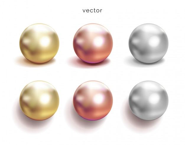 Reeks parel zilveren, roze of roze gouden en gouden bollen met glanspictogrammen op witte achtergrond, illustratie.