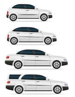 Reeks passagiersauto's met verschillende organismen vectorillustratie