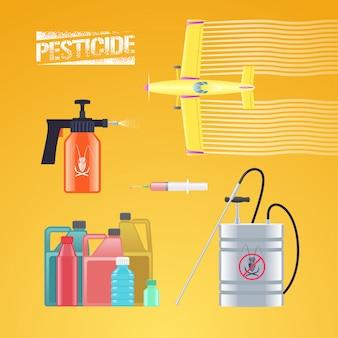Reeks pictogrammen, illustratie voor landbouw en landbouw - stofdoekvliegtuig, nevel, sproeier, fles pesticide, injectie. grafisch logo met teken van bestrijdingsmiddelen