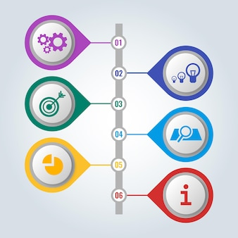 Reeks pictogrammen in kleurrijke knopen met regeling en stappen van het werk, infographic concept. mechanische versnellingen, elektrische lampen, pijl in doel en infochart vectorillustratie