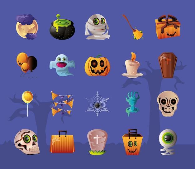 Reeks pictogrammen voor halloween over purper illustratieontwerp