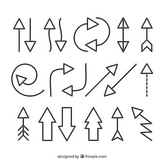 Reeks pijlen om in hand getrokken stijl te merken