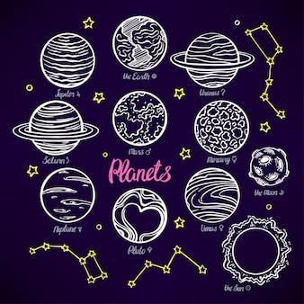 Reeks planeten van het zonnestelsel en de sterrenbeelden op donker
