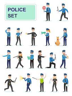 Reeks politieambtenaren die hun werk doen.