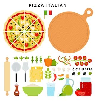 Reeks producten en hulpmiddelen voor het maken van pizza op wit wordt geïsoleerd