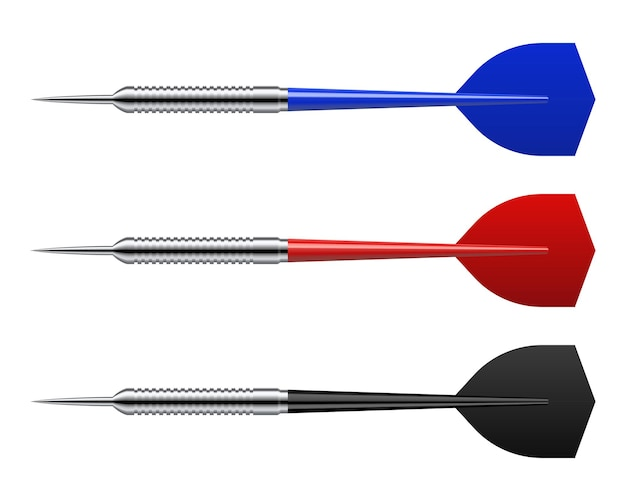 Reeks realistische dartpijlen die op wit worden geïsoleerd