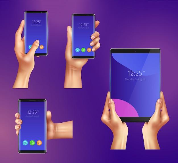 Reeks realistische gadgets slimme telefoons en tablet in vrouwelijke handen geïsoleerde illustratie