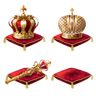 Reeks realistische vectorillustraties, gouden koninklijke pictogrammen, koninklijke scepter en rode fluwelen ceremoniële kussens