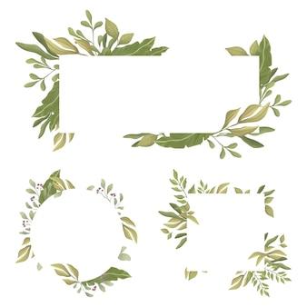 Reeks rechthoekige randen met tekstruimte in het midden. groene bladeren ronde en rechthoekige frames.