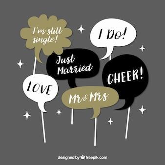 Reeks retro dialoog ballonnen voor huwelijk
