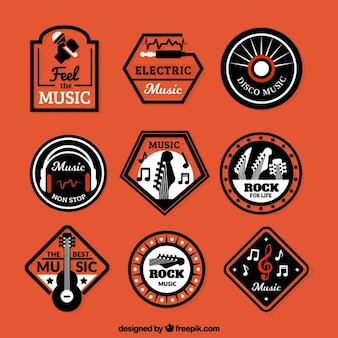 Reeks retro muziek stickers