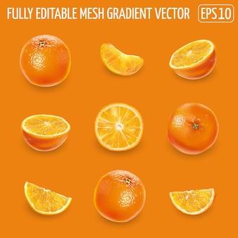 Reeks rijpe sinaasappelen - geheel, de helft en plakjes.