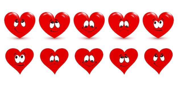 Reeks rode harten. het belangrijkste symbool van happy valentine's day.